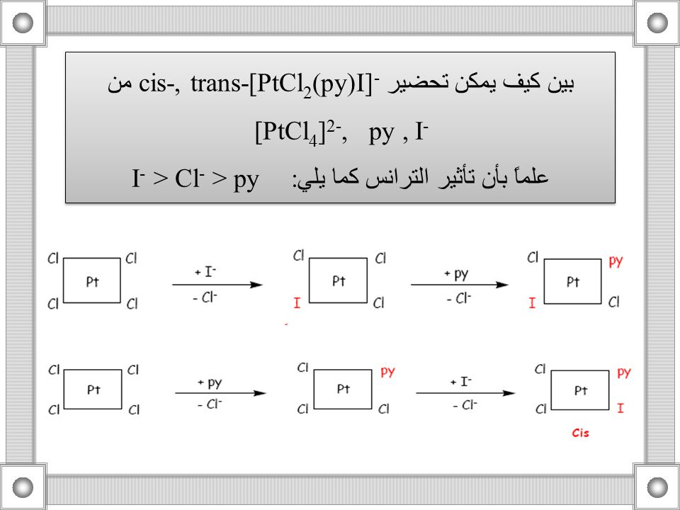 بين كيف يمكن تحضير cis-, trans-[PtCl2(py)I]-من [PtCl4]2-, py , I-